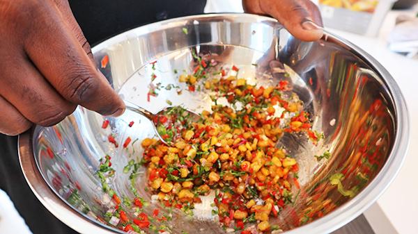 Chef making Corn Salsa