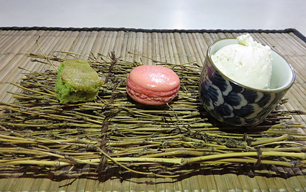 chef ken lin tasting menu dessert of green tea cake, rum punch and sesame ice cream
