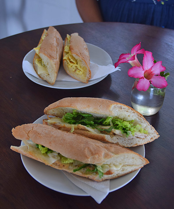 chicken and cheese and egg sandwiches from village bakehouse