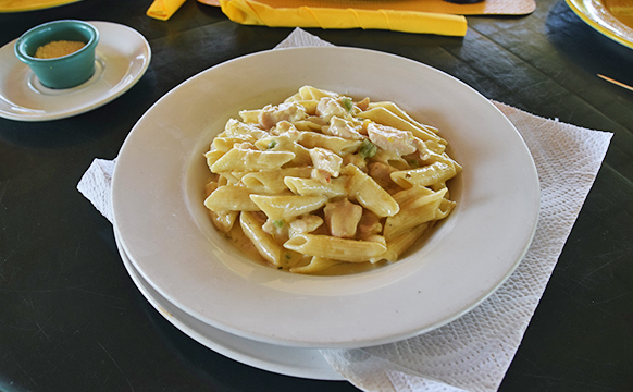 Cream chicken pasta at Elodias