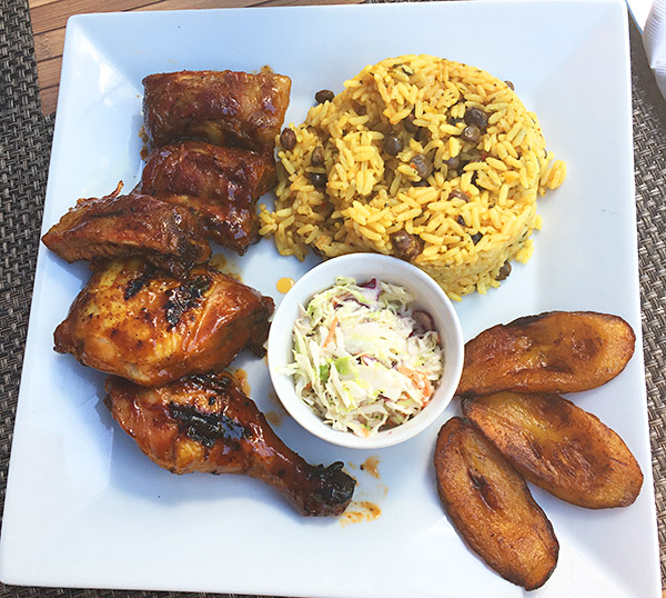 chicken and ribs at tropical sunset