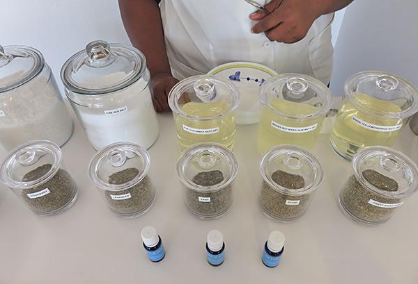 the blend bar ingredients at venus spa
