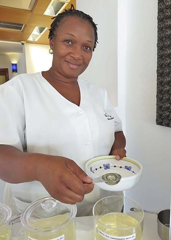 bath gel selection at venus spa anguilla