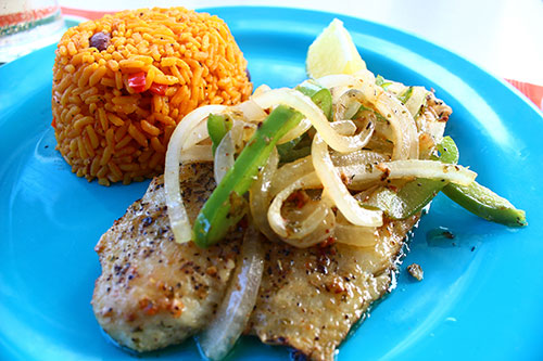sauteed fish at sharpys smothered in onions and peppers
