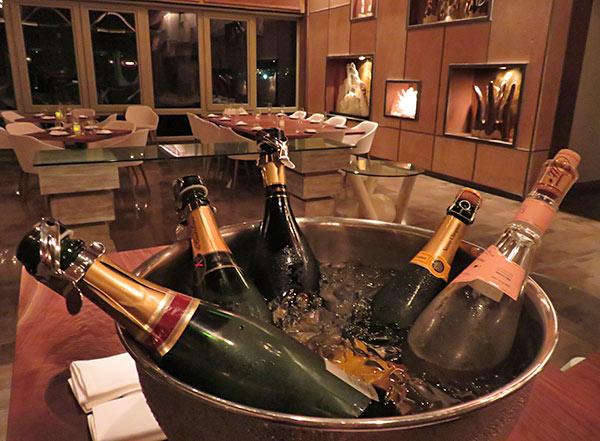 champagne selection at coba