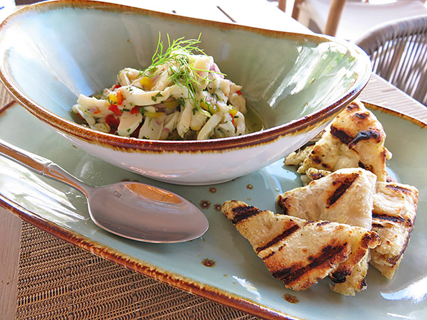 local conch ceviche at four seasons anguilla bamboo bar & grill