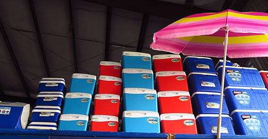 umbrellas and coolers at mega savers