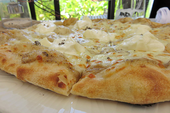 bianca pizza up close at covecastles