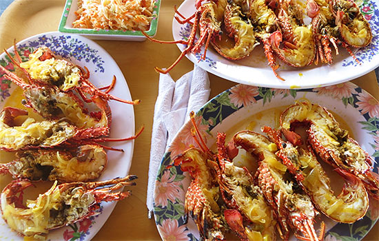 crayfish and coleslaw at palm grove in anguilla