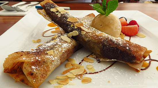 banana nutella crepes at nikki beach st. barth