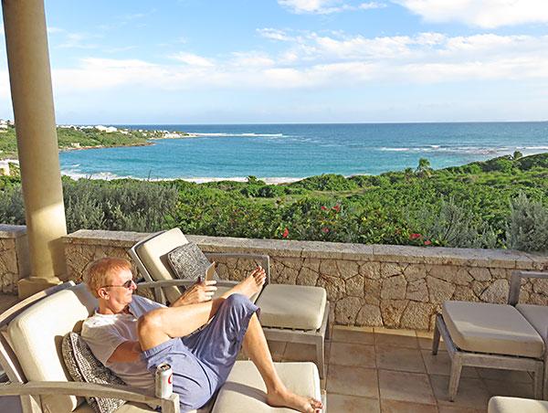 dad lounging at bird of paradise villa