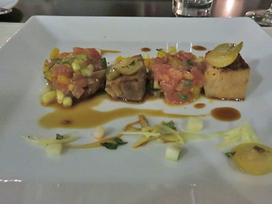 tuna tartare appetizer with pork belly at de cuisine