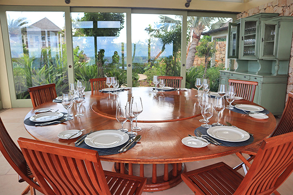 Dining Pavilion at Santosha Villa Estate on Long Bay