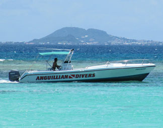 Anguilla diving, Anguillian divers, boat, Marjon