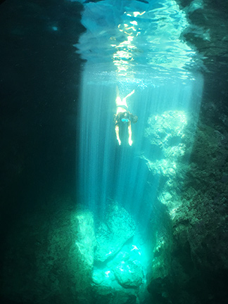 diving into the caves of scrub island