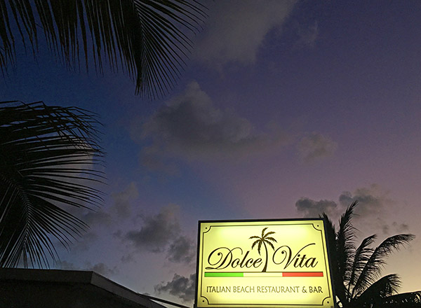 dolce vita sign and anguilla night sky