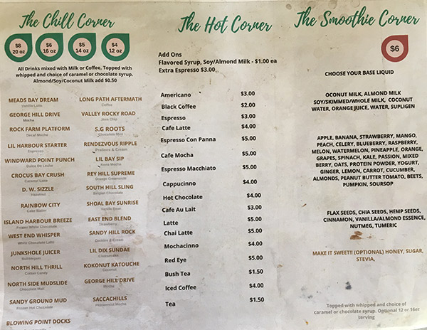 cafe 264 smoothie menu