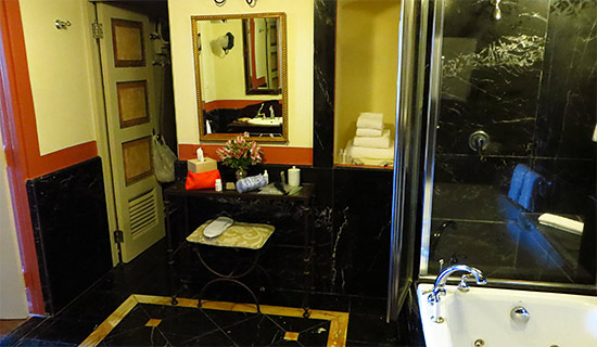 bathroom inside el convento hotel in san juan