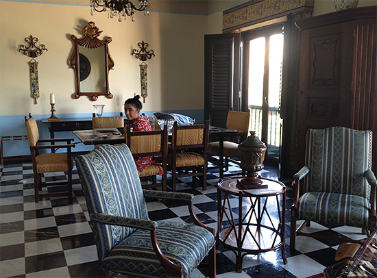 living room in gloria vanderbilt suite at el convento