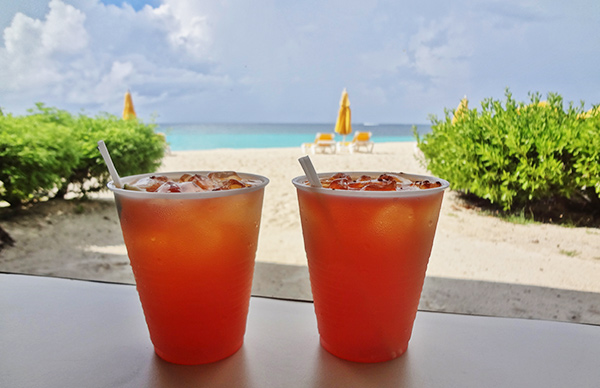 the famous rum punch at elodias beach bar and restaurant