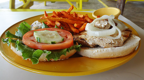 the mahi mahi sandwich at elodias beach restaurant