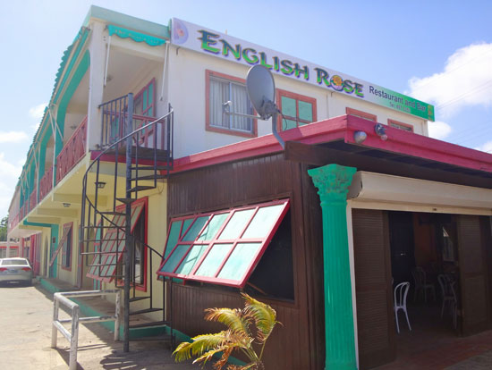outside the popular english rose restaurant in anguilla