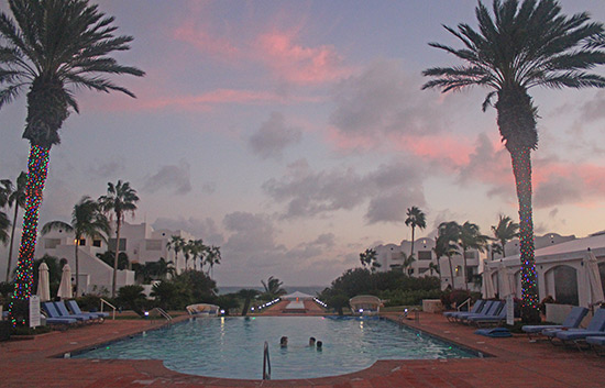 evening pool view at cuisinart golf resort & spa