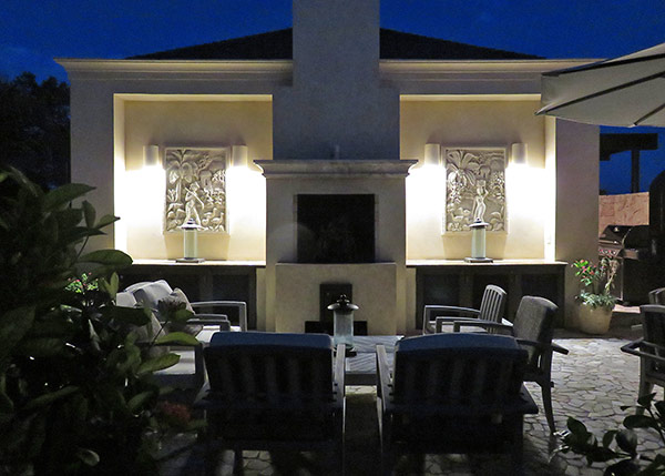 fire place by night at bird of paradise villa