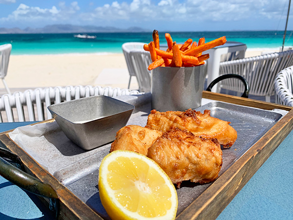 beer battered fish fillet at The Beach Bar and Grill at Cuisinart
