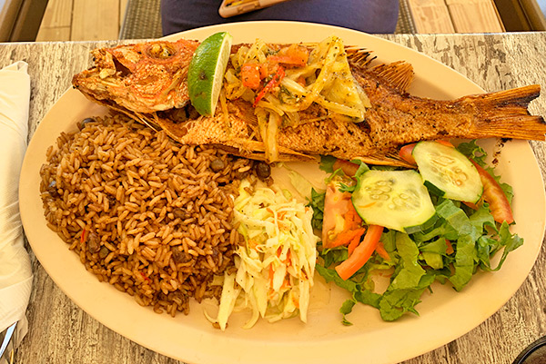 Grilled Snapper with Rice & Peas Anguilla restaurant, Johnno's