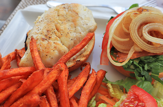 Grilled fish sandwhich from Flavours Restaurant