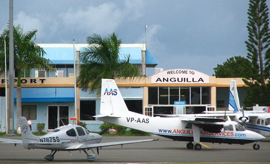 anguilla air services parked at airport in anguilla