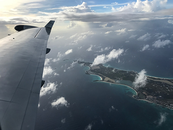 flying into anguilla airport aboard tradewind