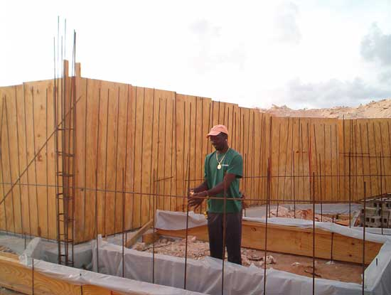 vertical rebar to connect footings and walls