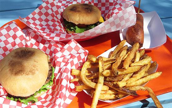A burger fries