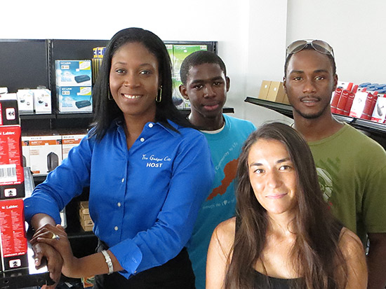 gadget city co-owner candis mkoba with nori, jose and kirmani