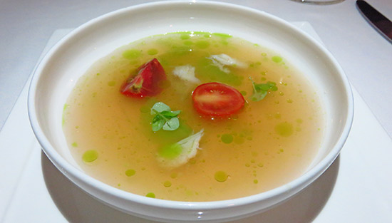 gazpacho first course of chefs tasting menu