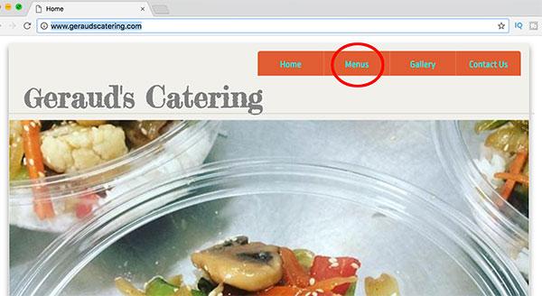gerauds online catering menu