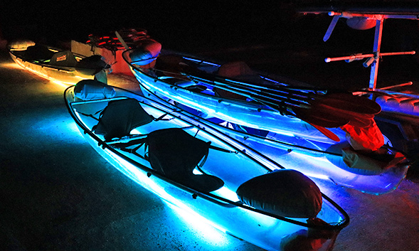 Liquid Glow night kayaking on LED light transperant kayaks