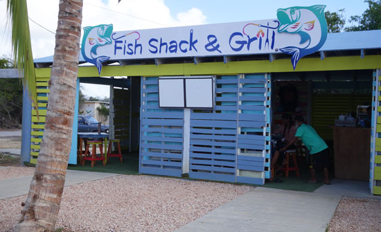 going inside fish shack and grill