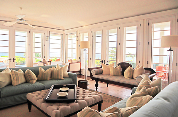 Living room at Santosha Villa Estate on Long Bay