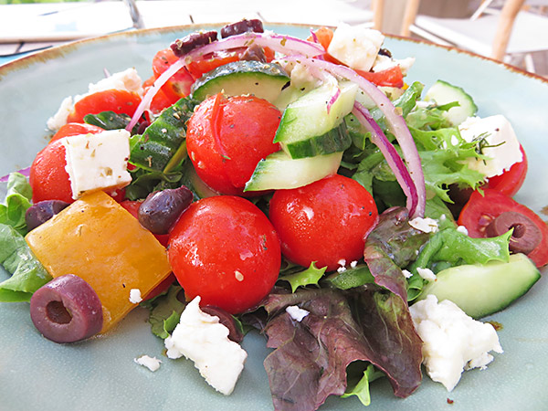 greek salad at bamboo bar and grill