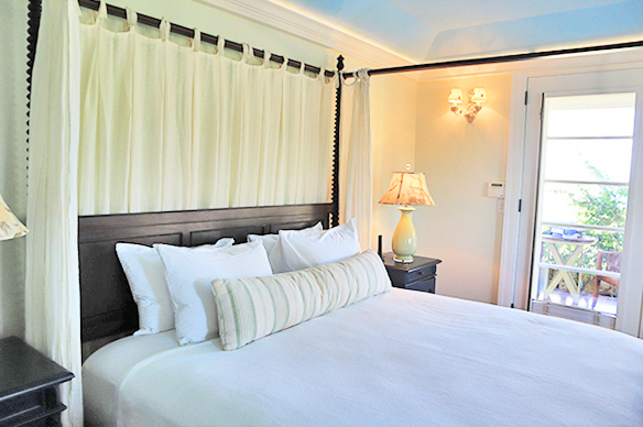 Main floor bedroom in guest house Ananda at Santosha Villa Estate on Long Bay