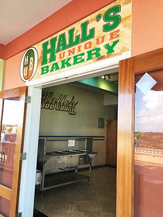 Entrance to Halls Unique bakery