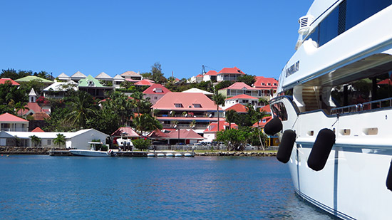 gustavia harbor full of mega yachts
