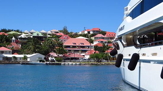 gustavia harbor full of mega yachts