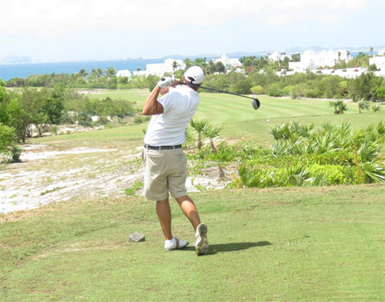 scott delong teeing off at anguilla open