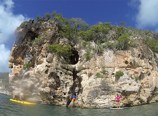 the mouth of the cave made for cliff jumping