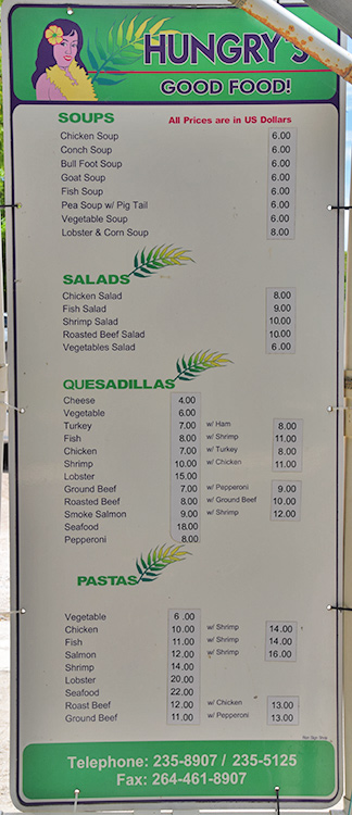 menu at the Hungrys Good food van, anguilla