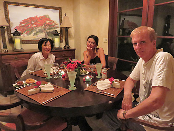 yuki, dad and mom ready for dinner at bird of paradise villa